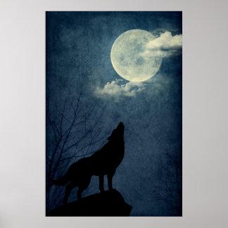 Poster lleno de la silueta del lobo del grito de l