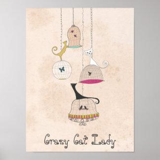 Poster loco del arte de los Birdcages 12x16 de señ