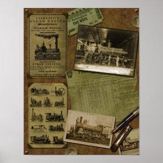 Poster locomotor del libro de recuerdos del vintag