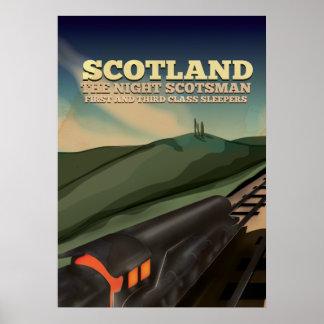 Poster locomotor del viaje de Escocia