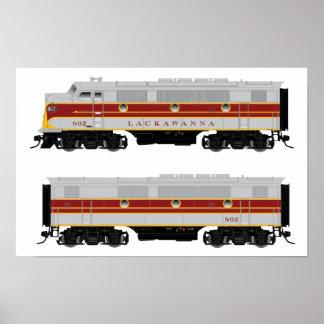 Poster locomotor determinado del A-B diesel F3 de