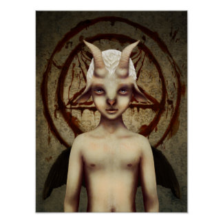 Poster Lowbrow PEQUENO del arte de BAPHOMET