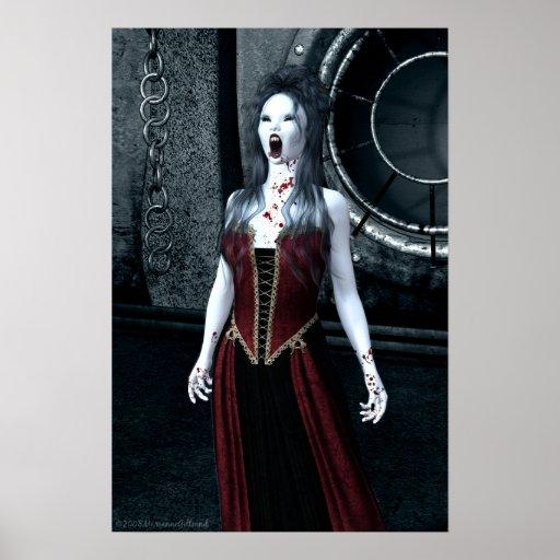 Poster macabro del vampiro de la sed