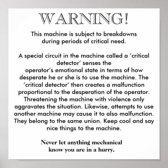 Poster - Machine Breakdown Warning