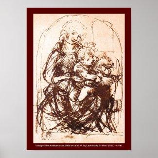 Poster: Madonna & Christ Child holding a Cat print