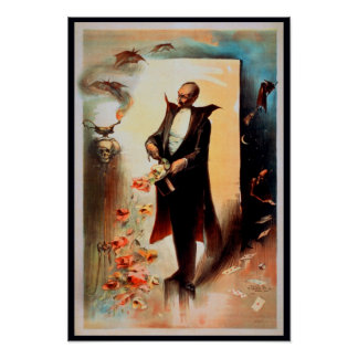 Poster: Magician with skull and roses (1892)