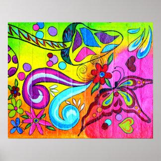 poster mágico colorido maravilloso de la mariposa