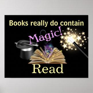 Poster mágico de la instrucción de los libros