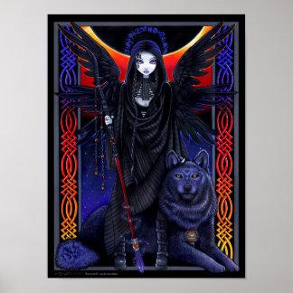 Poster mágico del ángel de guarda del lobo de Rayv