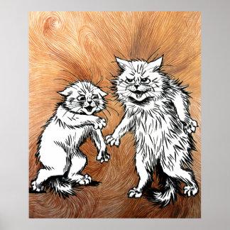 Poster mágico del arte de los gatos de Louis Wain