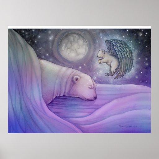 Poster mágico del oso polar y del ángel