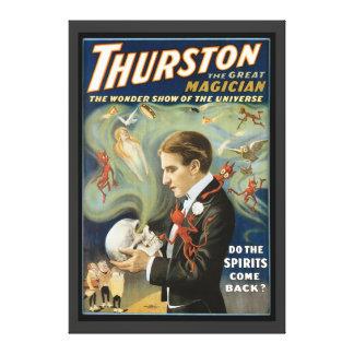 Poster mágico del vintage, Thurston, el gran mago Impresión En Lienzo