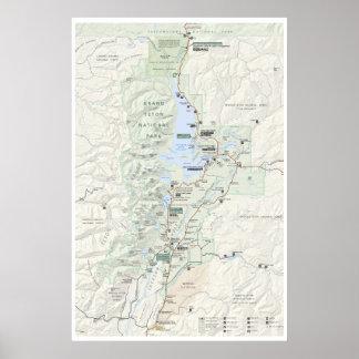 Poster magnífico del mapa de Teton Póster
