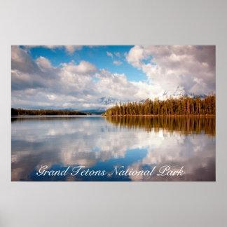 Poster magnífico del parque nacional de Tetons