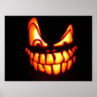 Poster malvado de la linterna del o de Halloween J