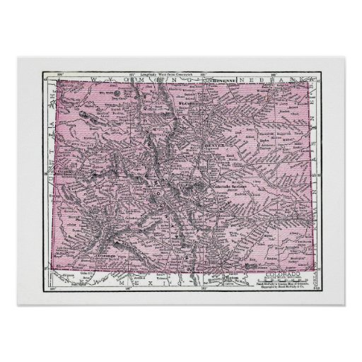 Poster:  Map of Colorado, 1921 Poster