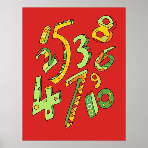 Poster maravilloso de un a diez números