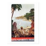 Poster Margherita Ligure Italia del viaje del vint Postales