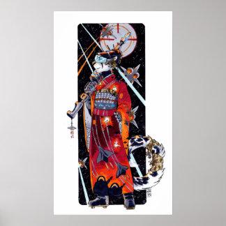 Poster marino de Jaguar del kimono del espacio