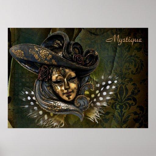 Poster Máscara-Verde del damasco del carnaval