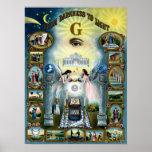Poster masónico de Hazen del Freemasonry antiguo d