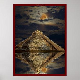 Poster maya antiguo del arte del templo de Chichen
