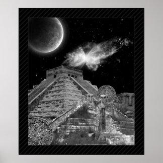 Poster maya blanco y negro de la fantasía