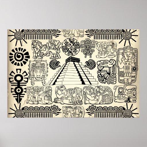 Poster maya grande de los símbolos