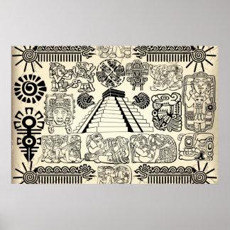 Poster maya grande de los símbolos póster