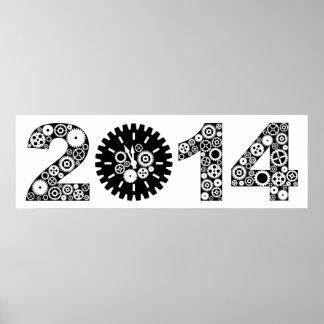 Poster mecánico de 2014 engranajes del reloj