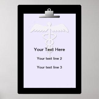 Poster médico del personalizado del caduceo del ta