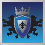 Poster medieval azul de la heráldica del león