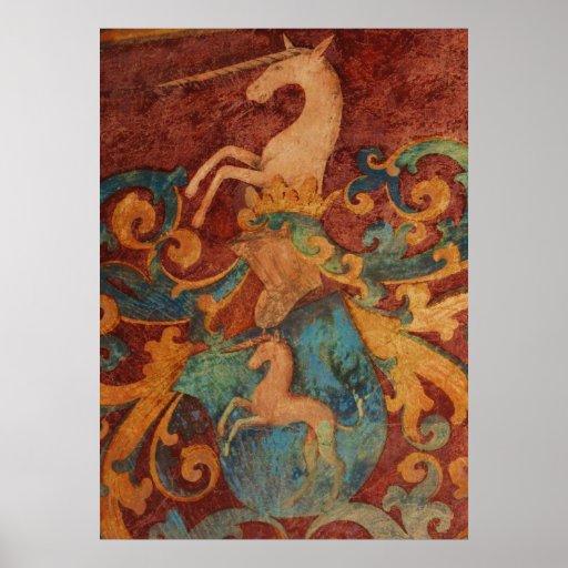 POSTER medieval de la pintura del unicornio