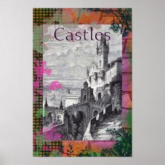 Poster medieval del castillo del vintage