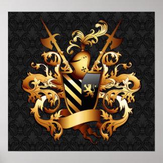 Poster medieval del escudo de armas