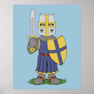 Poster medieval lindo del caballero
