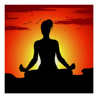 Poster Meditating del XL de la yoga femenina Póster