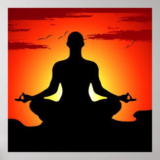 Poster Meditating del XL de la yoga masculina Póster