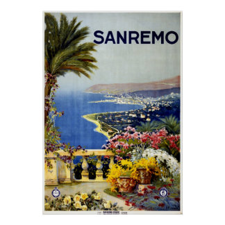 Poster mediterráneo italiano 1920 del viaje de San