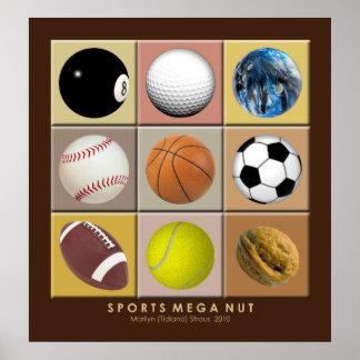 Poster mega de la nuez de los deportes