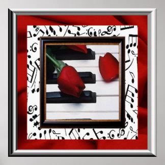 Poster melancólico de la música y de los rosas