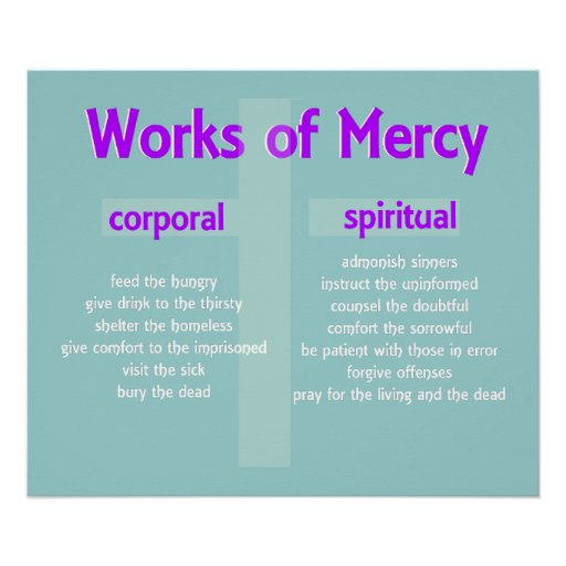 Corporal Works Of Mercy Coloring Pages Poster merciful works custom