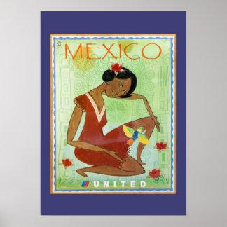 Poster mexicano colorido del viaje