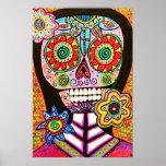 Poster mexicano del cráneo del azúcar del rosa de
