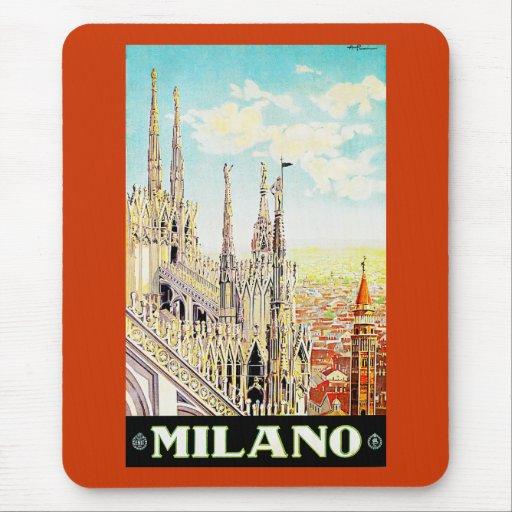 Poster Milano, Italia del viaje del vintage Tapete De Ratones