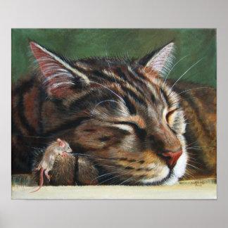 Poster minúsculo del ratón el dormir del gato de T Póster