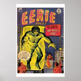 Poster misterioso de la cubierta de cómic del vint