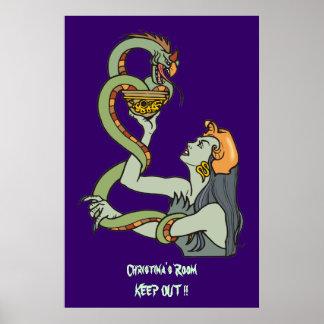 Poster místico de la puerta del dormitorio de la s