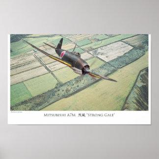 """Poster """"Mitsubishi A7M """" del arte de la aviación"""