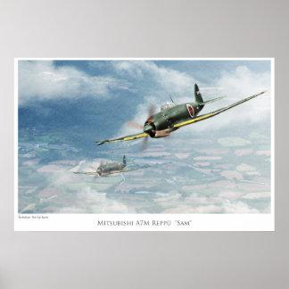 """Poster """"Mitsubishi A7M Reppū """" Sam"""" del arte"""" de l"""